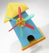 #8788 - INDOOR OUTDOOR DECORATIVE BIRDHOUSE WINDMILL BLUE YELLOW HAND-PAINTED
