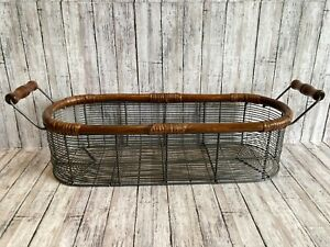 "Metal Wire Basket Wood Handles Farmhouse Oval Shabby 20"" Cottage Country"