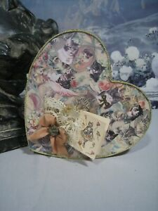 Lovely Victorian Style Heart Shaped Handmade Decoupage Decorated Box Gift Tag
