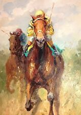 Horse Racing -  large original oil painting 34x46 - resembles American Pharoah!