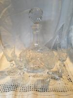 Stunning, Heavy, Cut Glass Decanter & 4 Glasses
