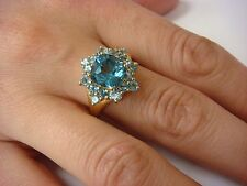 YELLOW GOLD BLUE TOPAZ COCKTAIL FLOWER DESIGN LADIES RING, 4 GRAMS, SIZE 8