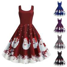 Christmas Women Sleevesless Santa Claus Xmas Party Dancing Skater A-Line Dress