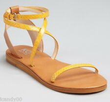 New KORS Michael Kors ROSEMARY Leather Strappy Sandal Slide ~Marigold *7.5