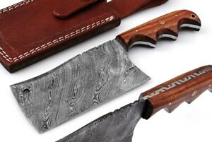 HAND FORGED DAMASCUS Steel Cleaver Hunting Knife Rose Wood Handle with Sheath