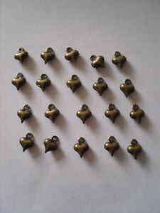 40 X SMALL PUFFED HEART COPPER TONE CHARMS 8MM X 6MM JEWELLERY MAKING CRAFTS