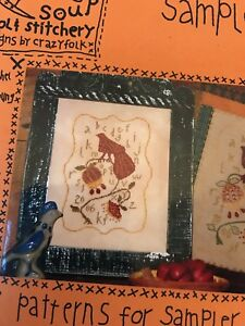 Tail Feathers SamplerCross Stitch & Wool Chart From Designs by Crazy Folk