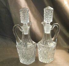 Vintage Pair Crystal Cruets-Unigue Stoppers