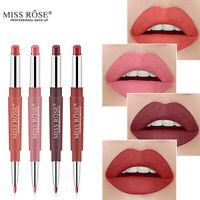 9 Colors Waterproof Dual Pencil Lipstick Pen Matte Lip Liner Long Lasting Makeup