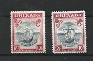 GRENADA  1938 - 50  2 X 10/-  PERF 14  MNH + LMH