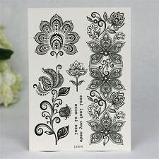 1 Blatt Körper Tattoo Aufkleber Sticker Wasserfest Temporär Floral Muster