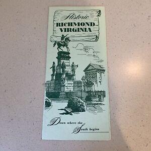 Historic Richmond Virginia Tourist Guide Brochure VA Capital New Old South Map