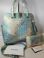 ❤️ BRAHMIN SERENDIPITY Sydney handbag + Checkbook Wallet Ocean Blues 2 PC NWT❤️