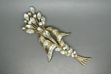 Vintage Coro Craft 40s sterling clear rhinestone flower Spray Bow Brooch