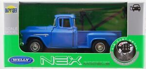 WELLY 1955 CHEVY STEPSIDE TOW TRUCK BLUE 1:34 DIE CAST METAL NEW IN BOX