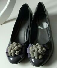 CLARKS Size 4 Grey Wide Fit Wedge Patent Embellished Shoes Heel 1.5 inch