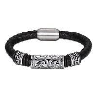 "Men's Stainless Steel 8"" Black  Leather Magnetic Nail Bracelet*BOX"