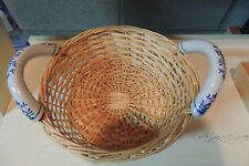 Vintage Wicker Basket with Decorative Blue Porcelain Handles Round 11""