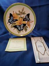 "Franklin Mint Butterflies Of The World "" Blue Mountain"" Plate W/hanger 24k Trim"