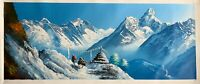 "MT. EVEREST AMA DABLAM VIEW BEFORE TENBOCHE ORIGINAL ACRYLIC PAINTING 14"" x 36"""