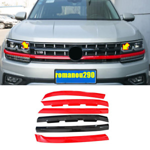 For Volkswagen Atlas V6 2018-2020 ABS Front Center Grille Grill Cover Trim 6pcs