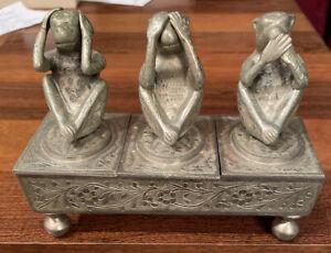 Fred Zimbalist Triple Monkey Music Box See Speak Hear No Evil Silver Brass Works