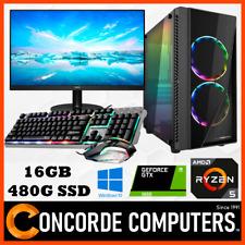 "AMD Ryzen GAMING PC 16GB 480GB SSD 27"" Monitor GTX 1650 Tower Desktop Computer"