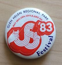 Vintage 1983 US FESTIVAL pin button badge David Bowie The Clash U2 Pretenders CA
