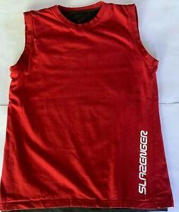 Slazenger athletic tank top size S singlet  red grey mesh cotton