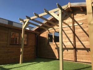wooden garden pergola gazebo LEAN TO 3.6m wide x 2.1m deep x 2.4m