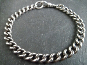 """HEAVY Chunky Antique Victorian Solid Silver Albert Chain Bracelet 20.5cm 8"""" Long"""