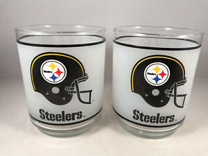 Pittsburgh Steelers 1970'S NFL Mobile Oil Gas Rocks Cocktail Glass Cup Set of 2
