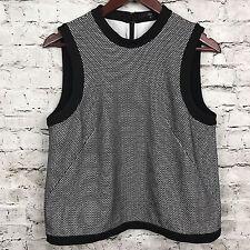 Tibi New York Black White Sleeveless Back Zip Pullover Cotton Blend Top Size M