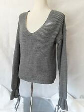 Pretty Little Thing Grey Lace Up Sleeved Jumper Acrylic Mix Size 8