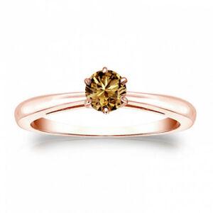 Diamant Brillant Ring Solitär 0,25 Karat Champagner 750 18K Roségold Alle Größen