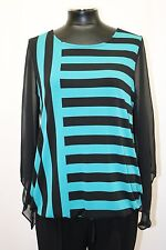 ALFANI BLOUSON SHIRT TOP ANGEL SLEEVE STRIPED BLACK TURQUOISE SIZE M NWT MyAFC