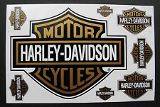 HARLEY DAVIDSON Motorcycle Black Gold Bar Shield Biker Sticker Set 8 Stickers
