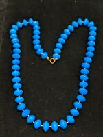 Vintage Estate Gold Tone Blue Saucer Bead Hand Knotted Necklace