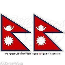 "NEPAL Nepali Flag, Nepalese 90mm Vinyl Bumper Decals Stickers, (3,6"") x2"
