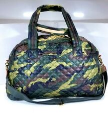 NWT $285 MZ Wallace JIM CAMO BAG Duffel Weekender Bag Leather Trim