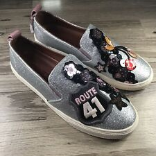 Coach Route 41 Leather Slip On Silver Sneakers Womens Size US 8B New!