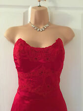 KAREN MILLEN STUNNING RED SILK/LACE PENCIL/WIGGLE DRESS 12 BNWT