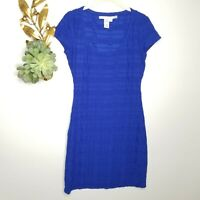 Max Studio Electric Blue Bodycon Dress Embossed Print Size Small Short Sleeve