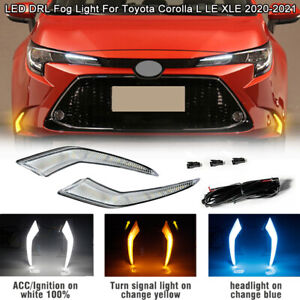 Pair LED DRL Daytime Running Light Fog Lamp For Toyota Corolla L LE XLE 20-2021
