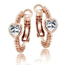 Rose Gold Tone Lab Created White Sapphire Heart Shrimp Clutchless Earrings
