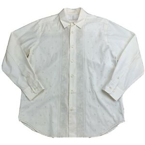 Vintage Tommy Bahama Embroidered Long Sleeve Cream Button Up Shirt - Small