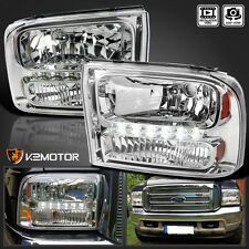 1999-2004 Ford F250 F350 Superduty Excursion 1PC Chrome LED Headlights