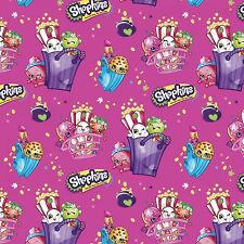 Moose Shopkins Bags of Fun Fuchsia Pink 100% cotton Fabric Remnant 33""