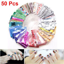 50Pcs Diy Nail Art Transfer Foil Sticker Decal For Nail Tip Decoration Star Set