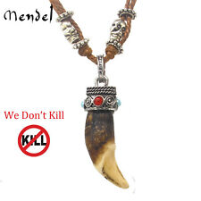 MENDEL Mens Native American Indian Amulet Real Wolf Tooth Pendant Necklace Teeth